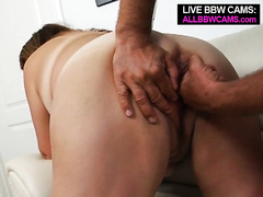 Time worn big beautiful woman Latina floozy acquires her vagina eaten and fucked on ottoman