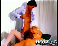 Blonde hussy enjoys a sexual pont of time with 2 fellows in retro clip