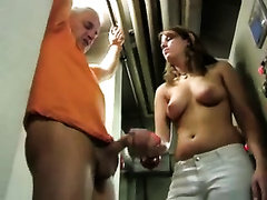 German breasty BBC slut at my work giving me cook jerking for free