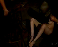 Lystra receives caged and humiliated in a basement in sexy BDSM scene