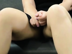 Solo movie scene with my paramour fingering her muff in a public place