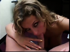 Smoking hawt unshaved blondie blows huge rod and takes facial