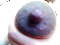 My preggo Married slut shows her black teats and bald muff