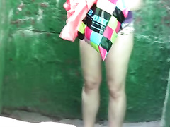 Russian playgirl on the street pees in her panties