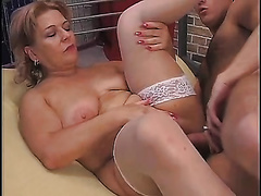 Mature golden-haired enjoys sex in the cowgirl and the missionary positions