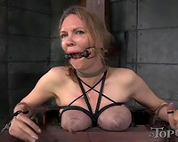 Busty blond slutty wife bounded on castigation chair acquires food film on her face