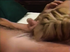 Sexy golden-haired mother I'd like to fuck gives deepthroat oral-sex in arousing oral-service sex scene