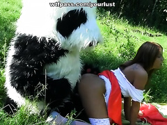 Sexy Red Riding Hood was walking in the forest met a man in Panda suit
