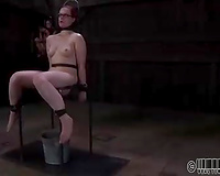 Dissolute redhead hottie with sex toy in her gazoo is restrained by her corporalist