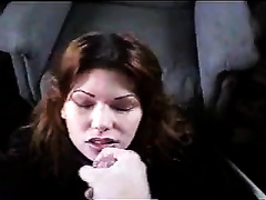 Brown-haired mommy sucks my rod and receives facialed hard