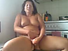 My lubricious BBC slut can't live without fucking her vagina with her massive sex toy