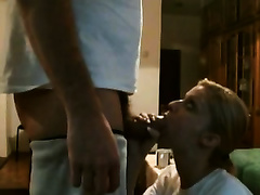 Horny blond co-worker admires me with her oral-sex skills