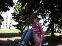 Russian dirty slut wife in the park receives moist between her legs