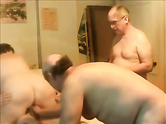 Me and my buddies having group sex with a older harlot