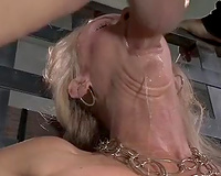 Stunning golden-haired serf dirty slut wife with great shapes is face screwed and toyed