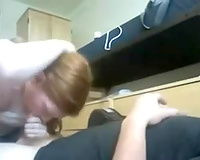 My hot redhead GF enjoys engulfing my boner in homemade video