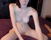 Redhead slender white horny white wife humping a massive sex toy on web camera