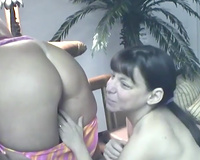 Lesbian sex scene with 3 hotties licking cookies in a bar