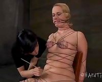 Nasty blond sweetheart bounded with treads and examined by her mistress