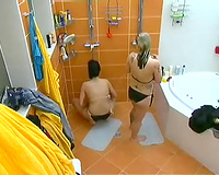 Two Czech cuties masturbating in the baths sitting next to every other
