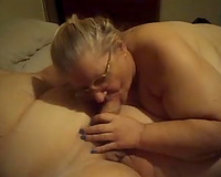 Old cheating wife in glasses sucks my jock like there is no the next day