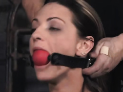 Tattooed brunette hair receives beaten and abused in a basement