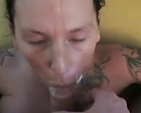 Tattooed brunette with large clit acquires drilled and facialed by me