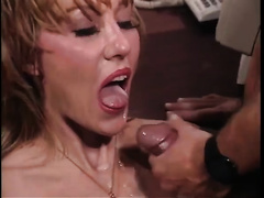 Lovely and horny blond cougar getting double permeated