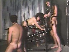 Sassy brunette doxy drilled hard by 2 perverted fellows