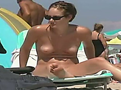 A collection of fascinating naked milfs on the nudist beach sunbathing