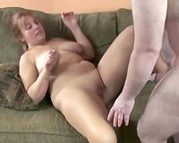Chubby milf blows and acquires her wet crack properly team-fucked