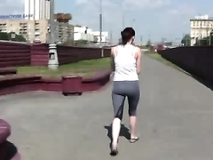 Fit honey Alex jogs in the park and pees her pants