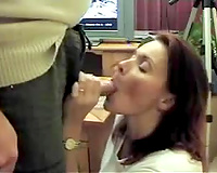Amateur sexy milf getting a large load of cum on her face
