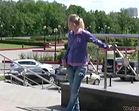 Horny voyeur with camera spies on a blond wife pissing