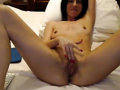 My slender bride fingers her snatch and drills it with a toy