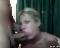 This blue eyed hottie is swallowing her BF's cum in front of a cam