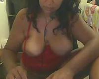 Brazilian large saggy bra buddies and juicy milf cunt on web camera