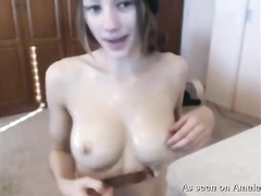 Sexy skinny beauty stuffs her constricted twat with a sex toy