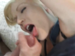 Petite MILF masturbates for her dude and then goes down on him