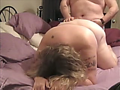 Blonde big beautiful woman wearing glasses enjoys messy from behind banging with me