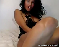Stunning Brazilian babe with marvelous slender body has beads in her coochie