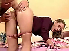 Watch me drilling a blond whore's coochie from behind