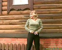 Wanton blond wife piddles outdoors and exposes her wazoo