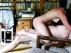 Homemade movie with me and my spouse banging in an armchair