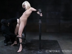 Slim golden-haired sweetheart with pale skin is tortured with candle