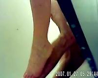 Amateur pair having sex in public shower receive caught on a hidden webcam