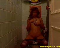 Self indulgent whore in fishnet hose is getting freaky on camera