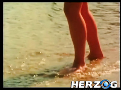 Retro sex video with 2 dilettante couples banging on a beach