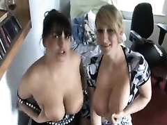Great looking British honeys love showing off their large bra buddies