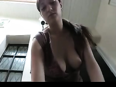 Awesome saggy white large knockers of a cute cam girl
